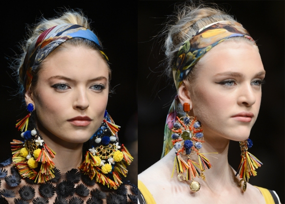dolce and gabbana spring primavera verano summer 2013 accesorios accesories scarf pañuelo pendientes earrings